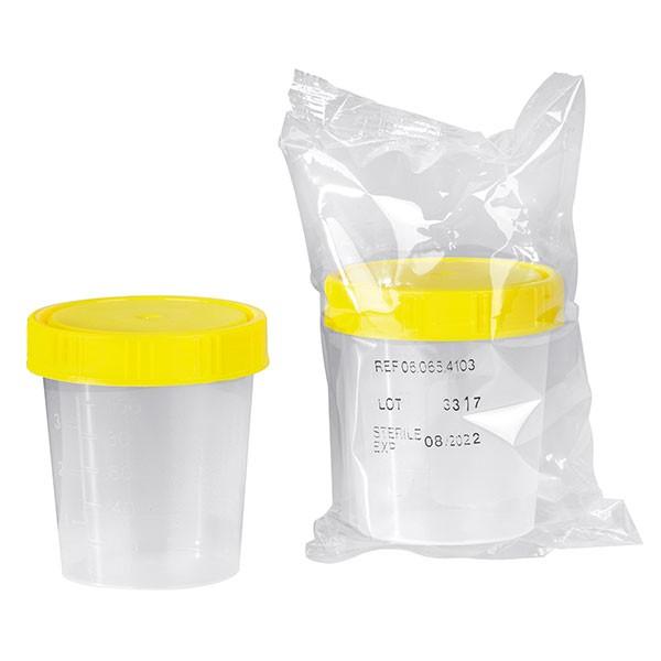 Urinbecher mit Schraubdeckel - STERIL ( 4 Stück )