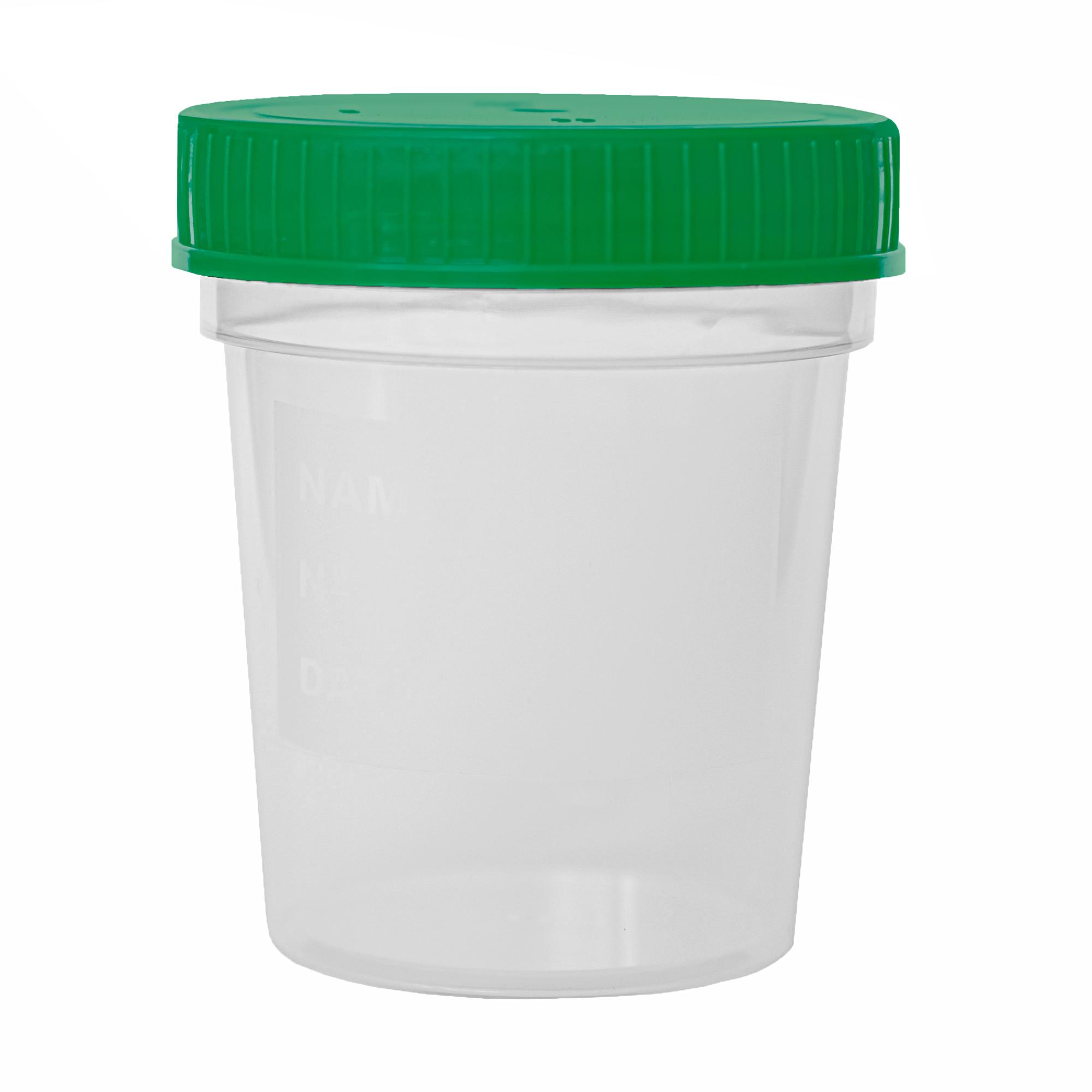 Urinbecher mit grünem Schraubdeckel - 125 ml